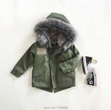 INS 2016 WINTER REAL FUR wadded jacket green KIDS DOWN COAT CHRISTMAS COSTUME  KIDS WINTER OUTWEARS vestido infanti boys outwear