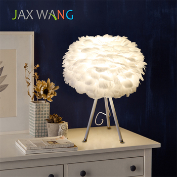 Nordic Modern White LED Table Lights Fixtures Feather Reading  Lamp Bedside Desk Lamp Bedroom Small Table Light Luminaria Avize