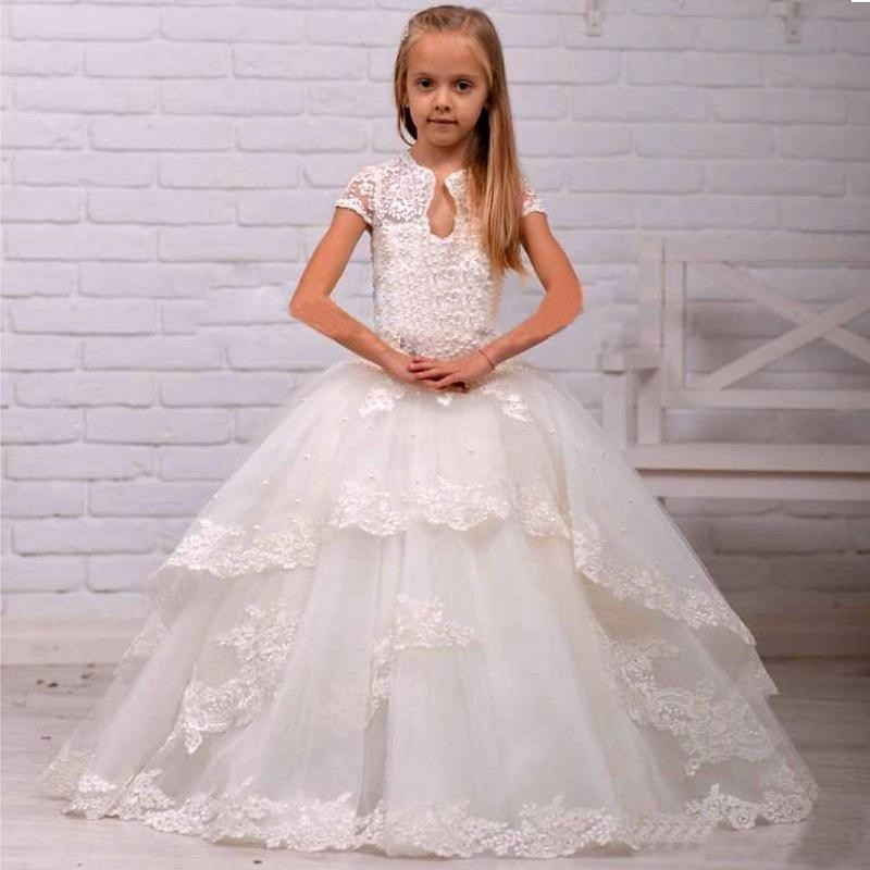 White Lace Flower Girls Dresses Little Princess Ball Gowns Appliqued ...