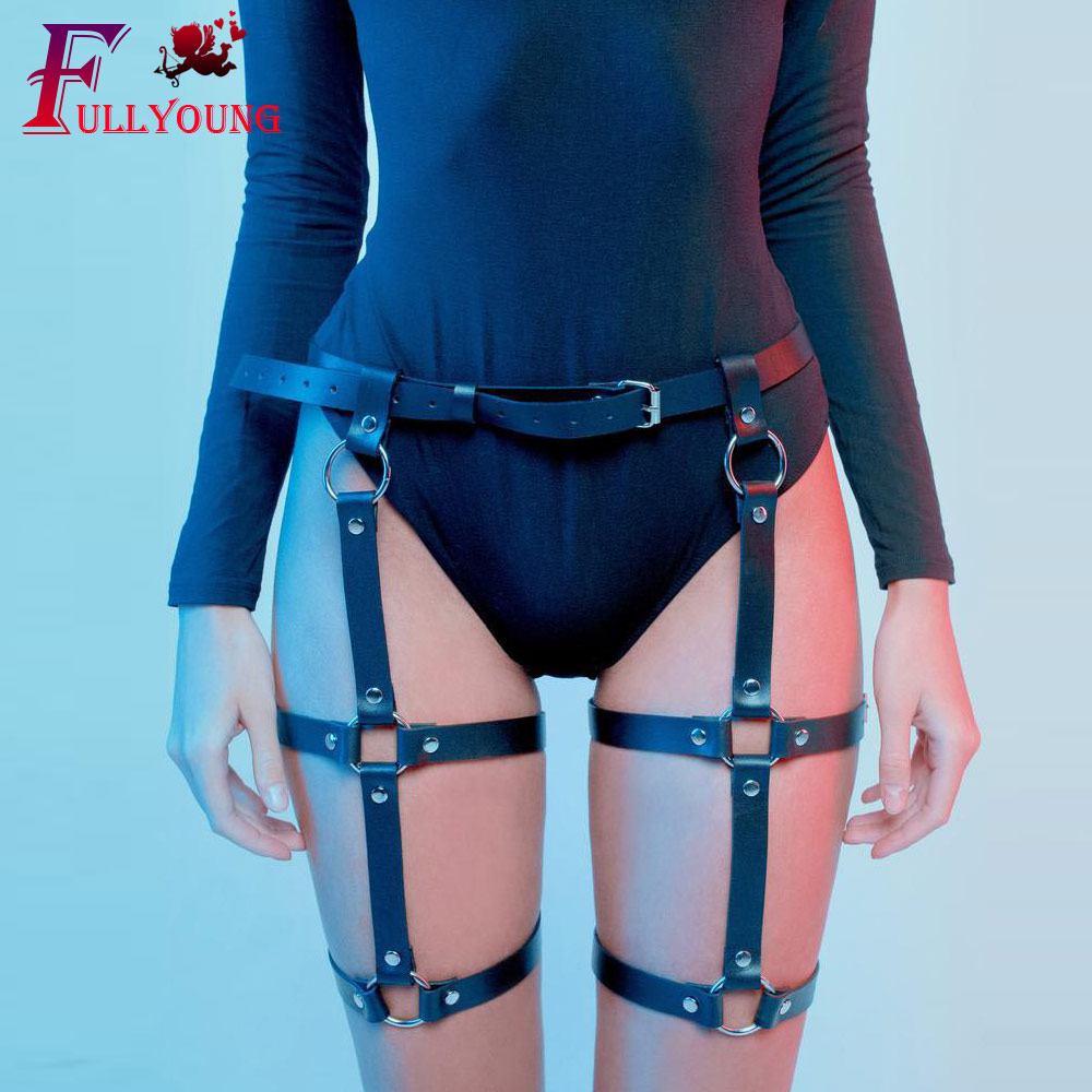 Fullyoung Sexy Women Leather Harness Harajuku Handmade Leather Punk Goth Bow Garter Stocking Belts Leg Ring Body Bondage Cage