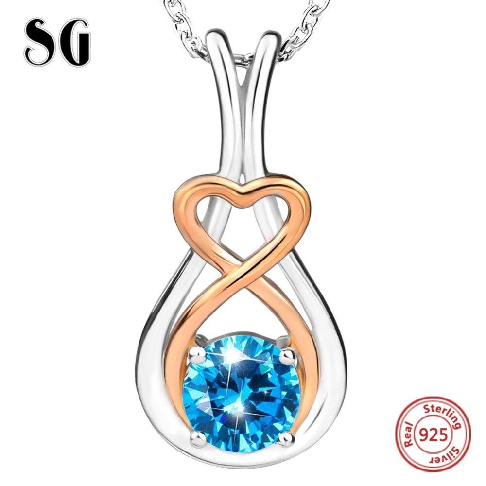 925 Sterling Gümüş Zəncir Moda Zərgərlik mavi qızıl gümüş - Gözəl zərgərlik
