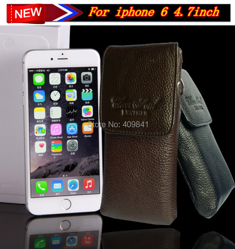 1Pcs Free Shipping Genuine Leather Flip Case Pouch Holster Belt Clip Cover For iPhone6 Mobile Bag