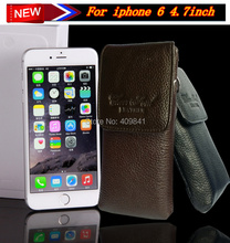 1Pcs Free Shipping Genuine Leather Flip Case Pouch Holster Belt Clip Cover For iPhone6 ,Mobile Bag For Apple 6 4.7″