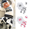 Baby Bodysuit Romper Long Sleeve Cotton Newborn Baby Clothes Baby Clothing Letter Print Rompers + Hat + Pants 3pcs Clothing Set