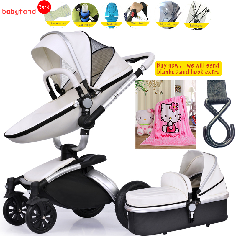 Baby strollers 3 in 1 baby stroller Aiqi  bbStroller 360 Degree Baby Rotating Light Leather Two-way  2 In 1 Folding Send 8 Gift original hot mum baby strollers 2 in 1 bb car folding light baby carriage six free gifts send rain cover