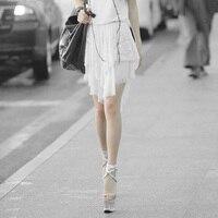 חצאיות תחרה שיפון מדהים גותית פאנק סימטרית לבנות קיץ סתיו רשת לבנים סקסית חצאית קצרה גודל חינם