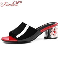 FACNDINLL Summer Shoes Patent Leather Flowers Fretwork Heels Party Wedding Shoes Women Beach Sandal High Heels