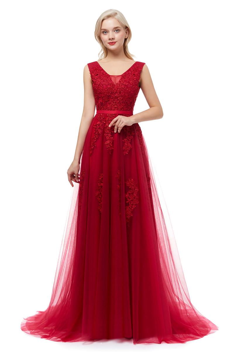 Elegant Wine Red Backless Lace Floor Length Prom Dress