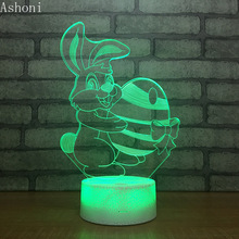 Cute Rabbit Easter Egg 3D Table Lamp Novelty LED Night light Home Decor 7 Color Change Kids Day Gifts