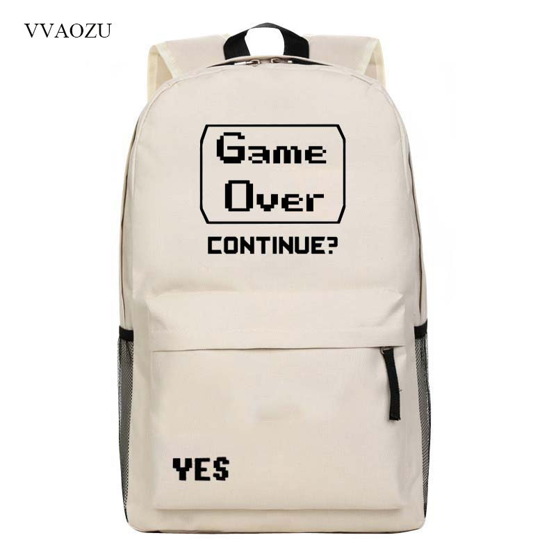 Casual Funny Game Over Printing Backpack Harajuku Style Back Pack Shoulders Bags Schoolbag Mochila Men and Women Unisex Bags funny fishing game family child interactive fun desktop toy