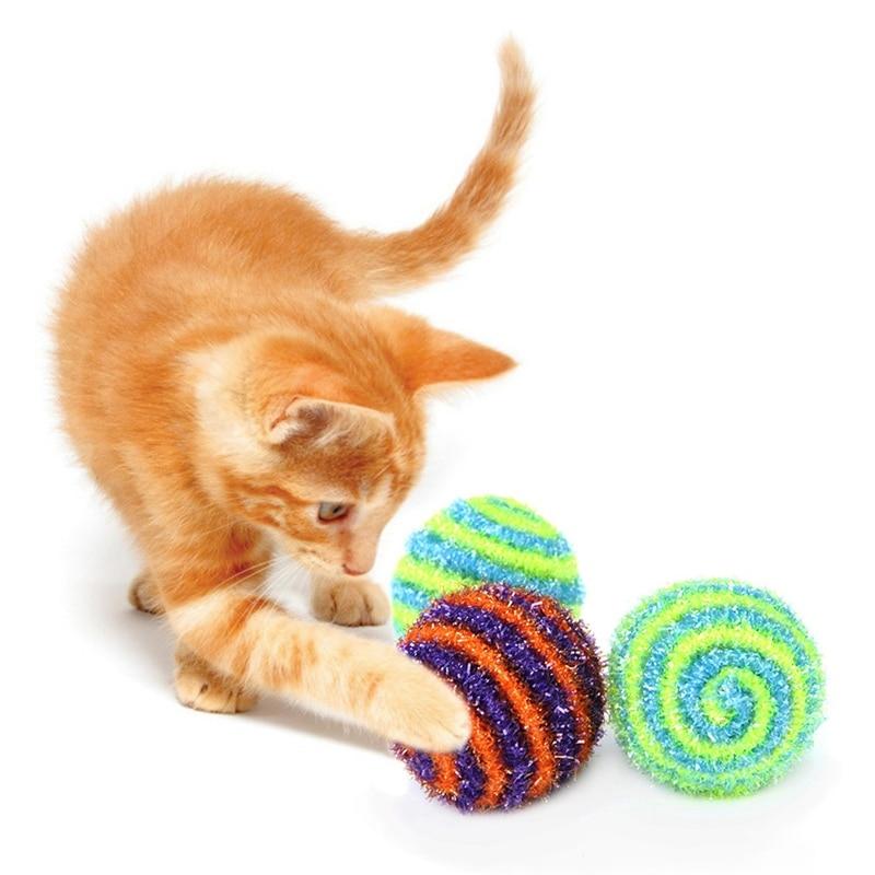 1 Pc Pet Cat Kitten Ronde Bal Speelgoed Gekleurde Pailletten Elastische Touw Bal Speelgoed Regenboog Spelen Ballen Activiteit Grappig Speelgoed Voor Gatos