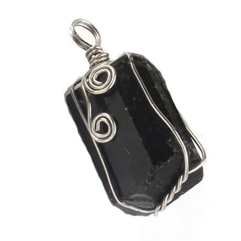 Silver Plated Wire Wrapped Shaped Natural Black Tourmaline Pendant  Stone Pendant