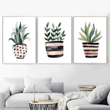 Watercolor Green Leaves Posters And Prints Wall Art Canvas Painting Nordic Poster Pictures For Living Room Decor