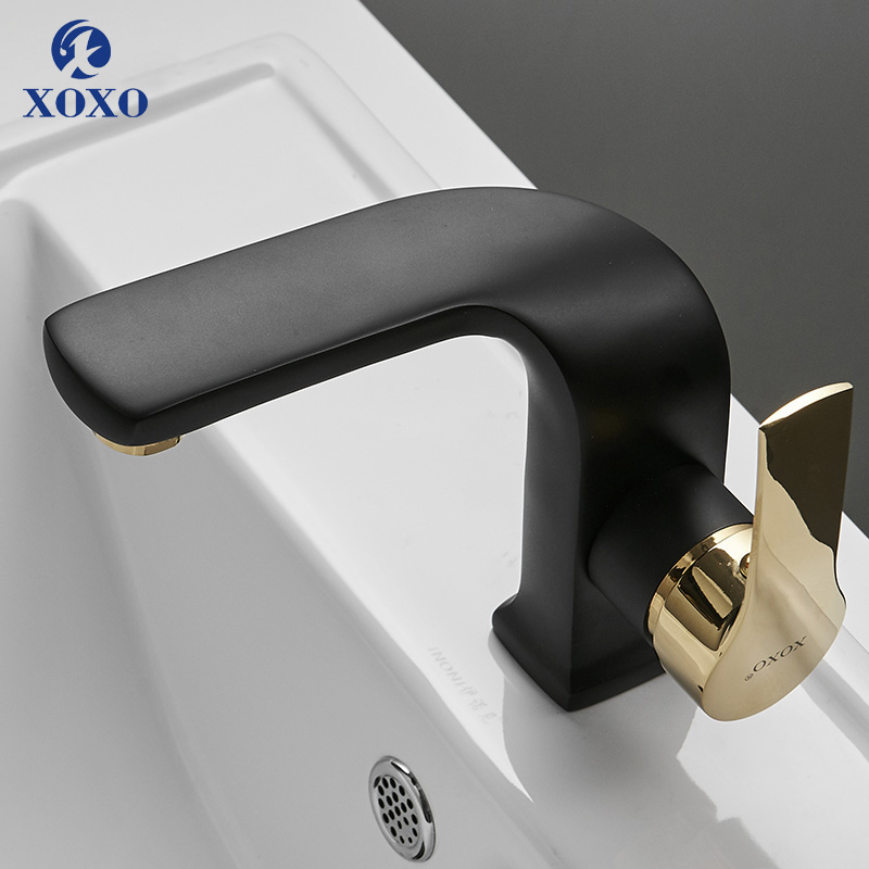 XOXO Basin Faucet Hot and Cold Bathroom Mixer Tap Black Brass Bathroom Faucets Single Handle Hole