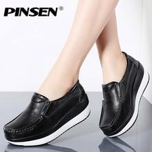 PINSEN 春の女性のフラットプラットフォームスニーカー靴本革カジュアルシューズ女性にフラットヒールモカシン 2019