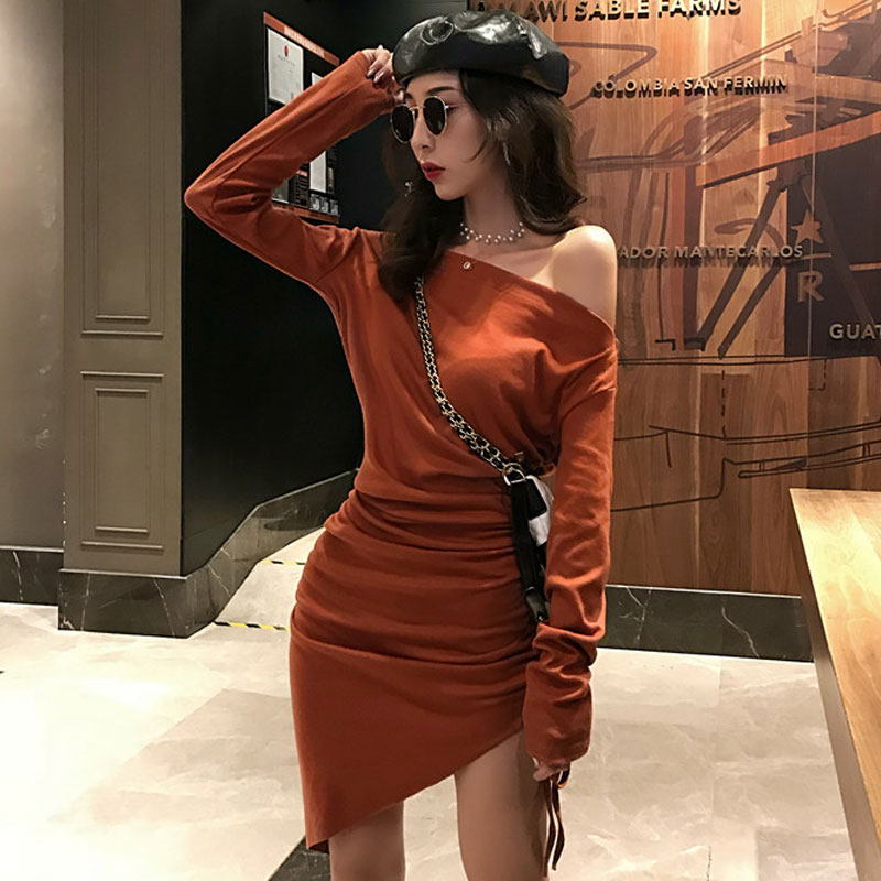 Mazefeng 2018 Dress Long Sleeves Female Sexy Women Mini Ladies Hip Package Buttocks