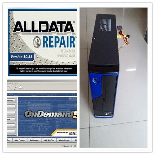 v10.53 alldata repair 2019 installed version mitchell ondemand auto repair software hdd 1tb 4g computer for car and heavy trucks
