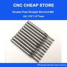 10 stücke 3,175mm CED 1,5mm CEL 7mm Gerade Slot Bit Holz Cutter CNC Vhm schaftfräser Zwei Doppel Flöte Bits CNC Router Bits
