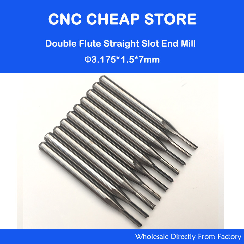 10pcs 3.175mm CED 1.5mm CEL 7mm Straight Slot Bit Wood Cutter CNC Solid Carbide Two Double Flute Bits CNC Router Bits 5pcs double flute straight slot sticker cnc engraving router bits mill cutter solid wood carving tool cel 35mm