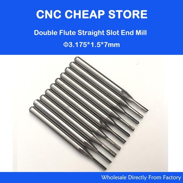Brocas de ranura recta para madera, cortador de carburo CNC sólido, dos brocas de doble flauta, brocas de rebajadora de CNC, 3.175mm, CED, 1,5mm, CEL, 7mm, 10 Uds.