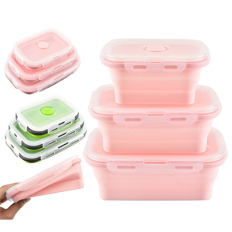 3 Pcs Set Silicone Bento Box Portable Foldable Food Container Silica Gel Lunch Box For Kids Picnic Outdoor Work Meals Lunchbox