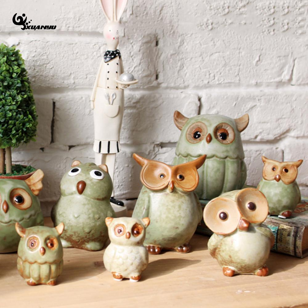 Retro Ceramic Cute Owl Dumb Light Desktop Decoration Figurines Miniatures Crafts Ornamen ...