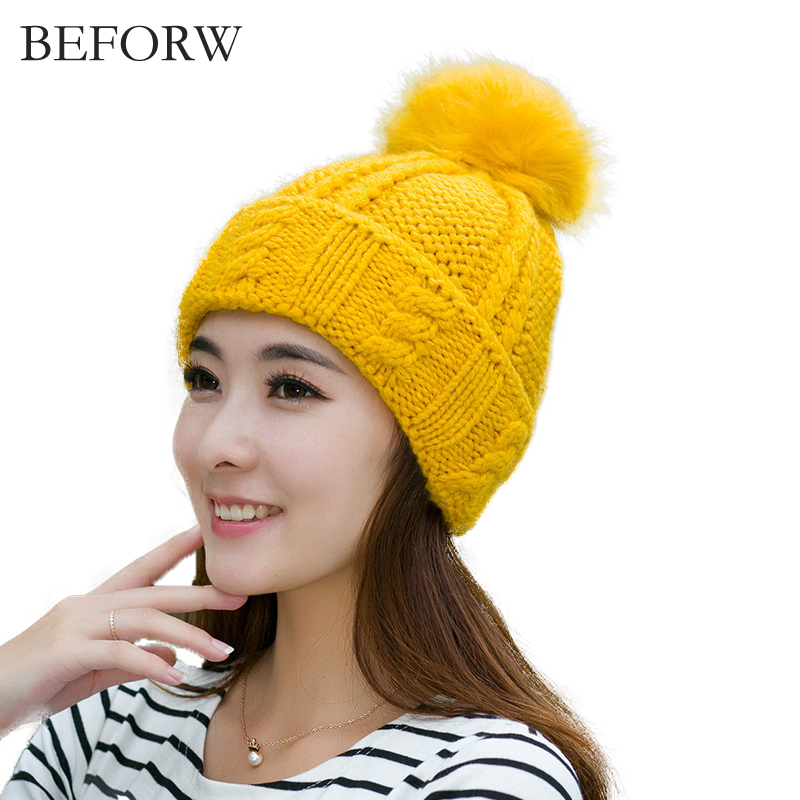 BEFORW Mink And Fox Fur Ball Cap Women's Winter Hat Knitted Wool Hats For Womens Girl 's Winter Real Mink Pom Pom Hats Ladies the new children s cubs hat qiu dong with cartoon animals knitting wool cap and pile