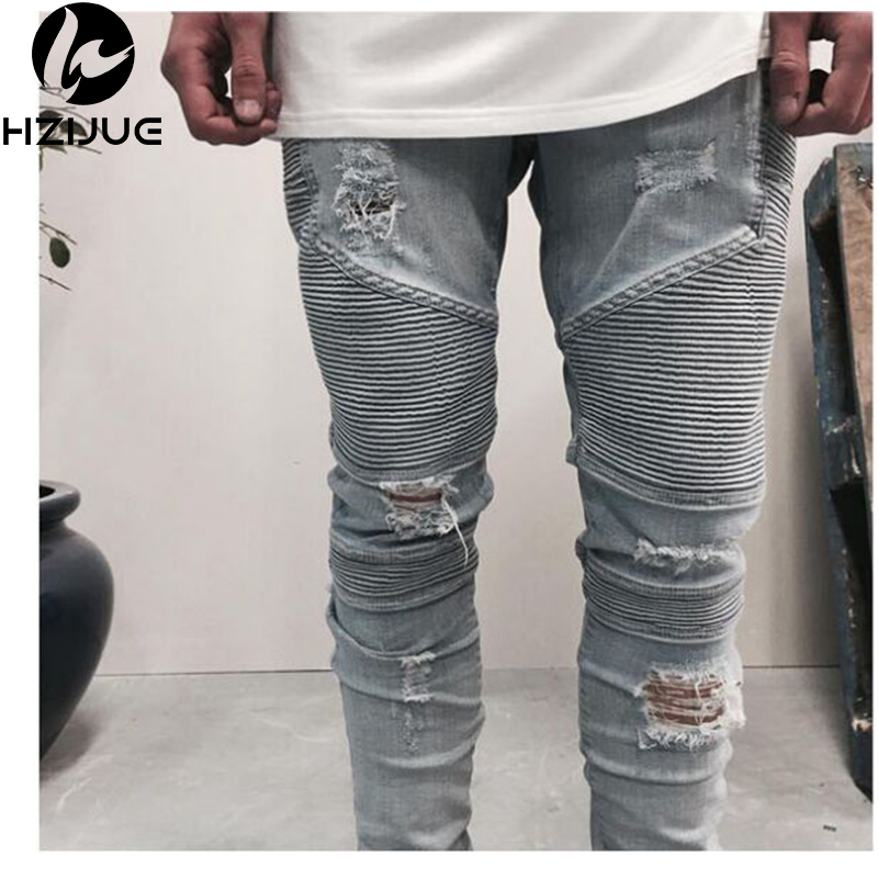 ФОТО HZIJUE clothing slp beige/light blue/black mens designer clothes slim destroyed denim pants biker skinny rock ripped jeans