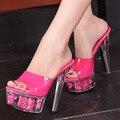 Grande Tamanho 43 44 Mulheres Transparentes Bombas Sexy de Cristal Salto Alto Plataforma Sandálias Sapatos Boate Sapatos de Casamento Flor de Slides