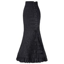 e4ae8ab5e94 Vintage dentelle longue sirène jupe été automne médiéval Costume queue de  poisson taille haute jupes Bandage volants victorien g.