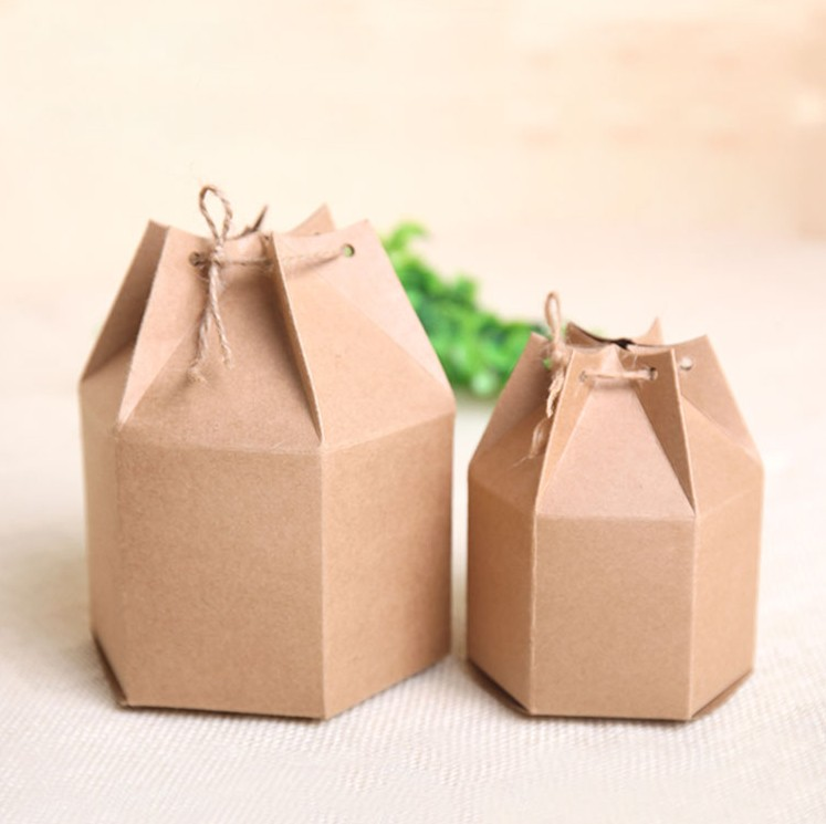 Retro Tea Gift Box Hexagonal Kraft Brown Gift Box Packaging Beautiful Cardboard Boxes For Packaging 20pcs/lot