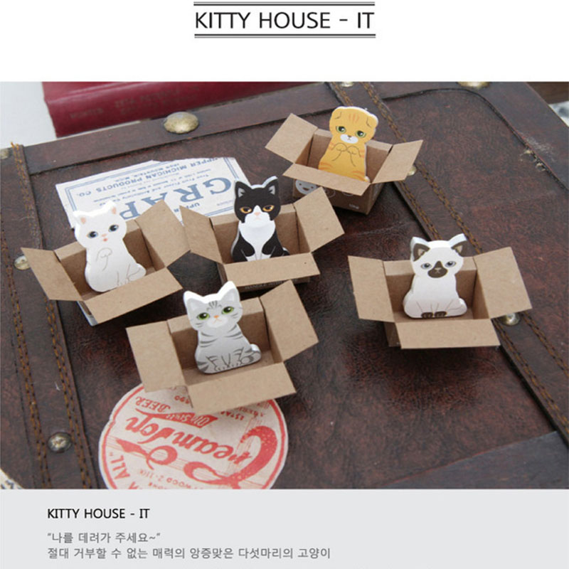 5pcs 3D Mini Cat Notepad Animal Self-Adhesive Memo Puppy House Sticker Cartoon Massage Scrapbooking Decoration BookMark Paper
