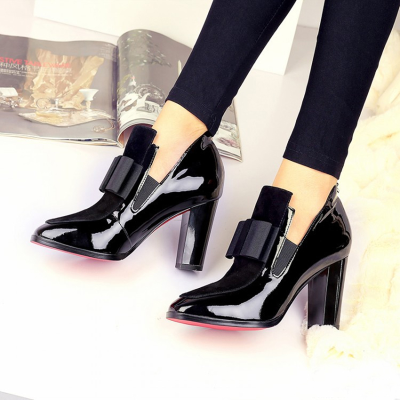 100% Genuine leather high heels pumps square toe Cattle patent leather shoes women ladies black Sexy chaussure femme black shoes