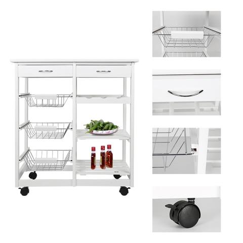 New Kitchen Trolley Cart Dining Shelf Island with Wine Rack Basket Storage Drawers 67*37*75CM HWC Multan