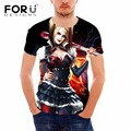 FORUDESIGNS Men Shirts Short Sleeved Cotton O-Neck Personalized t Shirt Harley Quinn Printed T Shirt Male T-shirt Men Clothes