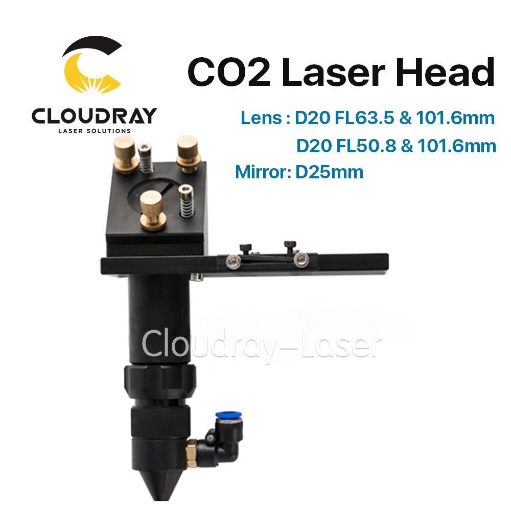 C Serie: cloudray CO2 Laser Kopf für Fokus Objektiv Dia.20 FL.50.8/63,5mm & Spiegel 25mm Halterung für Laser Gravur schneiden Maschine