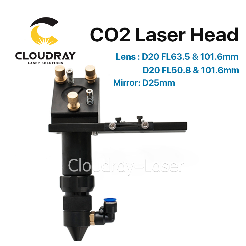 Cloudray CO2 Laser Head for Focus Lens Dia.20 FL.50.8 / 63.5mm & Mirror 25mm Mount for Laser Engraving Cutting Machine co2 laser head mirror and lens integrative mount laser cutting engraving