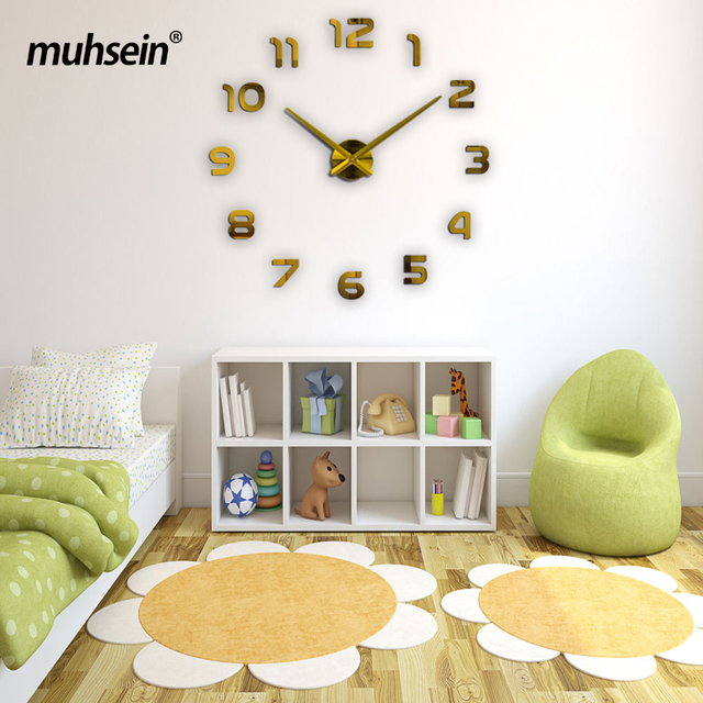 2017 muhsein new Large wall clock personalized big wall clock 3d diy clock Acrylic mirror Stickers Quartz Modern Home Decoration