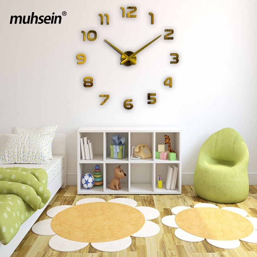 2017 muhsein new Large wall <font><b>clock</b></font> personalized big wall <font><b>clock</b></font> 3d diy <font><b>clock</b></font> Acrylic mirror Stickers Quartz Modern Home Decoration
