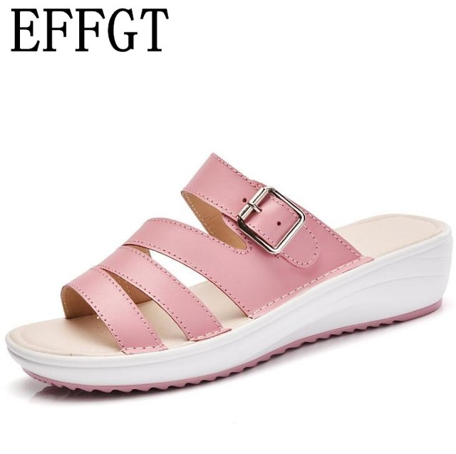 5bd4502da2dbc1 EFFGT Women genuine leather Slippers Fashion Flip Flops Women Shoes Wedges  Slippers Summer Comfortable Buckle Ladies sandal H419-in Slippers from ...