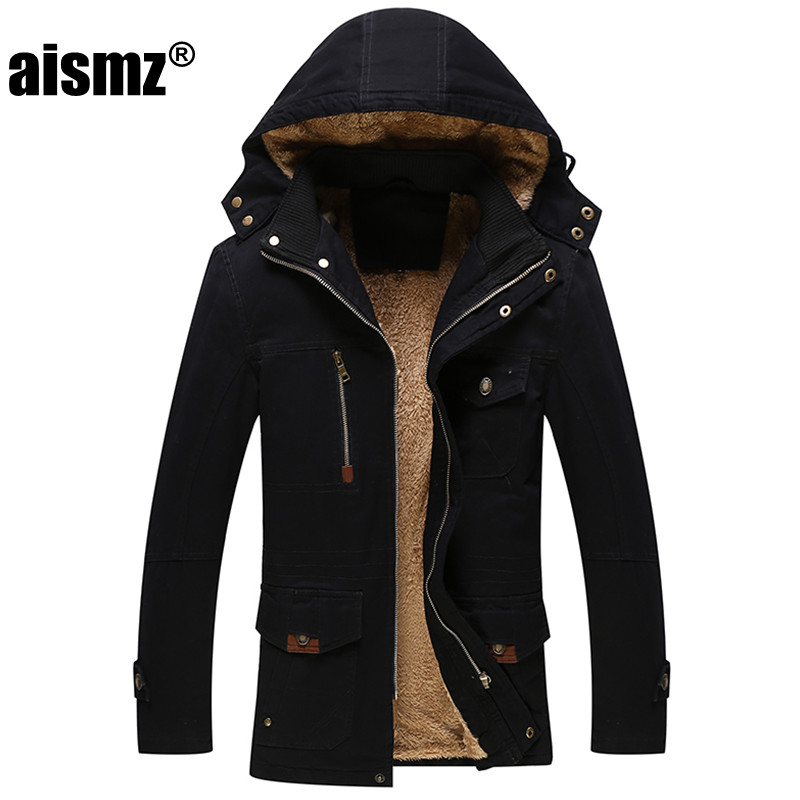 Aismz Winter Jacket Men Casual Thick Warm Coat Men s Outwear Parka Plus size 4XL Coats