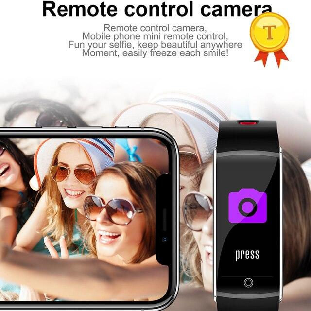 9410fb799142 Mejor venta Smart Band pantalla color fitness Tracker smartband IP68  impermeable Cámara Control remoto deportes pulsera