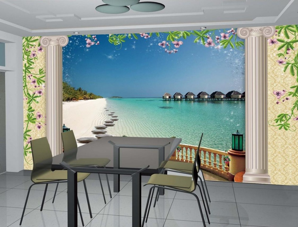 3d wall murals wallpaper bathroom 3d wallpaper sea view roman column background wall photo 3d. Black Bedroom Furniture Sets. Home Design Ideas