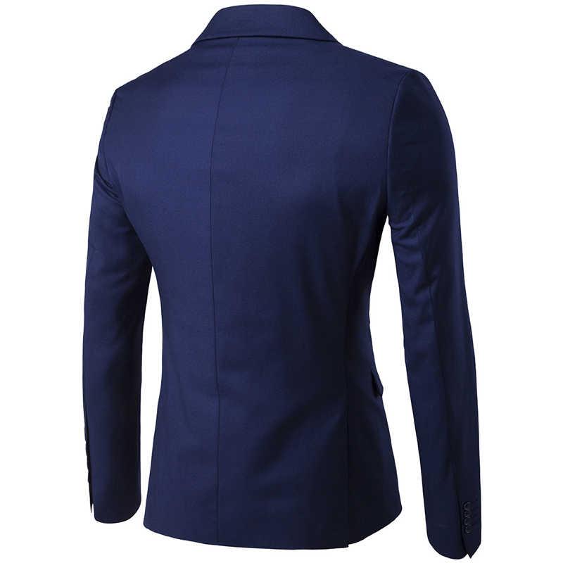Men's Formal Business Slim Fit Navy Blue 3pc Suits (Jacket+Pants+Vest) 2019 Spring New One Button Notched Lapel Costume Homme