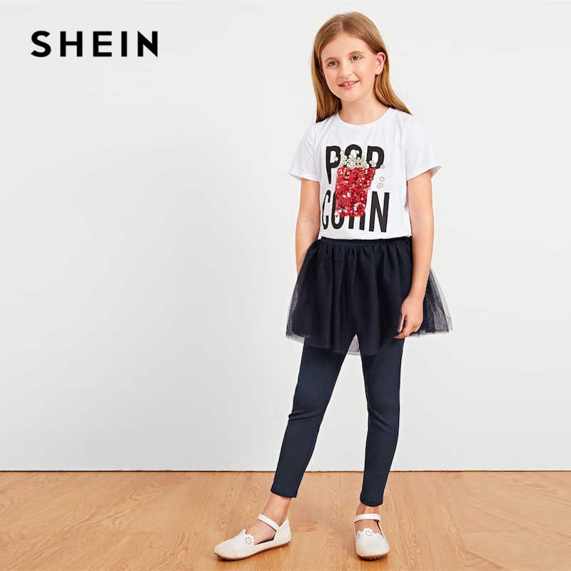 cb437c63d7 ... SHEIN Kiddie White Letter Print Sequin Casual T Shirt For Girls Tops  2019 Summer Korean Short