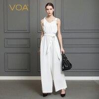 VOA Ağır Ipek Katı Beyaz Tulum Kadınlar Seksi V Boyun kolsuz Tulumlar Artı Boyutu 5XL Yüksek Bel Kemer Tunik Yaz K322