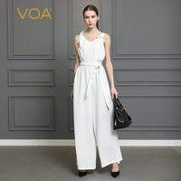 VOA Heavy Silk Solid White Jumpsuit Women Sexy V Neck Sleeveless Jumpsuits Plus Size 5XL High Waist Belt Tunic Summer K322