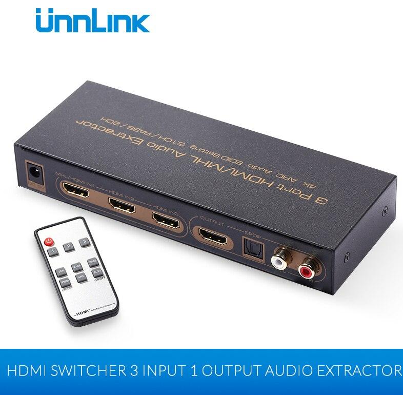 Unnlink 3х1 1.4 HDMI-переключатель с RCA toslink Оптический с SPDIF Л/R Аудио конвертер 4к 2к 3Д 3 порта сплиттер HDMI аудио Экстрактор