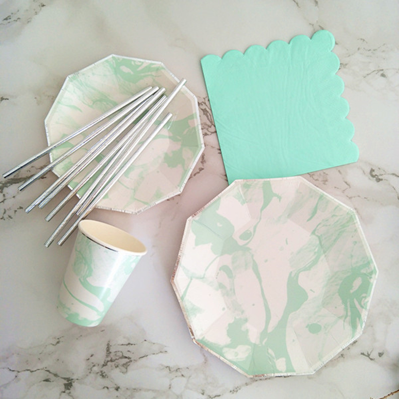 Christmas Paper Plates And Napkins.Us 66 18 48 Off 40 Sets Mint Marble Paper Tableware Paper Plates Cups Napkins Straws For Thanksgiving Christmas Eve Celebration Party Supplies In