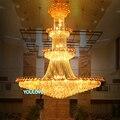СВЕТОДИОДНЫЕ большие золотые хрустальные люстры  светильники  современные хрустальные капельки  вилла  домашняя лестница  Hotal  золотые Клуб...